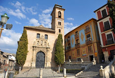 Church of Santa Ana in Granada, Andalucia, Spain. Built from 1537 in Renaissance style, the belltower of the Church of San Gil and Santa Ana is the minaret of an royalty free stock photos