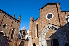 Church of Santa Anastasia - Verona Italy. Facade and Gothic doorway of the church of Santa Anastasia (1290-1471) in Verona (UNESCO world heritage site), Veneto Royalty Free Stock Images