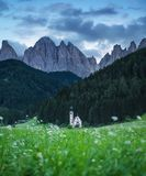 Church in Santa Maddalena village in the Dolomite Alps, Italy. stock photo