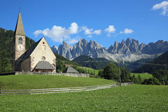 Church of Santa Maddalena. In Villnoss Valley with the Odle mountains. South Tyrol. Italy Stock Photo