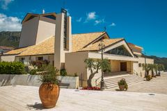Church of Santa Maria Assunta in cielo in the historic center of Sperlonga city. Lazio, Italy royalty free stock photo
