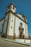 Church of Santa Maria da Devesa facade in baroque style. With worn whitewashed wall at Castelo de Vide. Nice little town with medieval castle to ensure the royalty free stock photos
