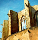 Church Santa Maria del Mar in Barcelona, painting Stock Image