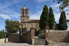Church Santa Maria del Mercadal Castelnou. Santa Maria del Mercadal Sainte-Marie du Mercadal in French is the parochial church of the north-Catalan commune of Royalty Free Stock Photography