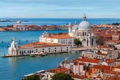 Church of Santa Maria della Salute. Venice. Aerial view of the lagoon and the church of Santa Maria della Salute. Venice, Italy royalty free stock photos