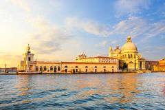Church of Santa Maria Della Salute in Venice at sunset royalty free stock image