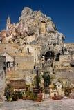 Church of Santa Maria di Idris. Matera. Basilicata. Apulia or Puglia. Italy. Bell tower of San Pietro Caveoso church to the left and of Santa Maria di Idris to royalty free stock photo