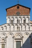 Church of Santa Maria Forisportam - Lucca Italy. Detail of the church of Santa Maria Forisportam in Pisan-romanesque style XII century in the ancient town of Stock Photography