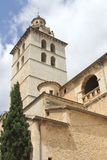 The Church of Santa Maria la Major in Inca, Mallorca, Spain. Tower of the Church of Santa Maria la Major in the city of Inca at the isle of Mallorca, Spain stock images