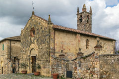 Church of Santa Maria, Monteriggioni, Italy Stock Photo