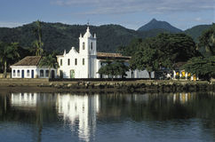 The church of Santa Rita in Paraty, State of Rio de Janeiro, Bra. The church of Nossa Senhora das Dores, built in 1800. Paraty, state of Rio de Janeiro, south Stock Image