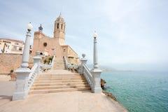 Church of Santa Tecla in Sitges (Spain) stock photos