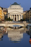 Church of Sant Antonio Nuovo with reflection on the river, Trieste in Italy Stock Photo