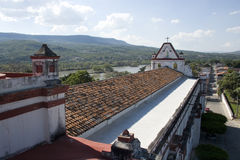 Church of Santo Domingo. Viewed from bell tower, in the background Usumacinta river in Chiapa de Corzo in the state of Chiapas, Mexico stock images