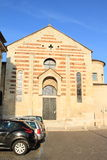 Church Santo Stefano in Verona. Church Santo Stefano with parking with cars in front in Italian city Verona (Italy Stock Images