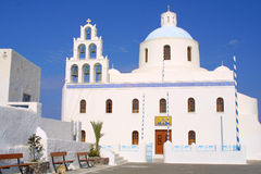 The church of Santorin. Happy holiday in greece of the island santorini Royalty Free Stock Image