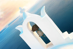 Church in Santorini. Beautiful white church in Santorini Island Stock Photo