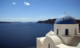 Church in Santorini. Near Sunset Royalty Free Stock Photos