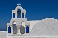 Church in Santorini, Greece. Church bell tower in Greek island of Santorini in the town of Oia Royalty Free Stock Photos