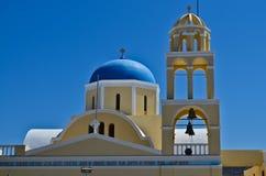Church in Santorini, Greece. Church bell tower in Greek island of Santorini in the town of Oia Royalty Free Stock Photo