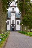 Church Sao Nicolau in Sete Cidades. Way to the little church Sao Nicolau in Sete Cidades, Sao Miguel, Azores,Portugal Royalty Free Stock Image