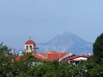 Church in Sarti and Mount Athos, Greece royalty free stock photo