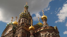 Church of the Savior on Blood against the background of clouds. TimeLaps stock footage