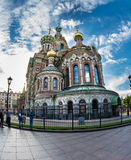 Church of the Savior on Blood against bright sun with lens flare Stock Photos