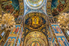 Church of the Savior on Blood. Beautiful mosaic platfond with a with a biblical story. Stock Image