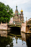 Church of the Savior on Blood behind the bridge in the morning Royalty Free Stock Images
