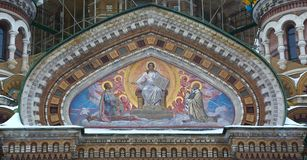 Church of the Savior on blood, external mosaic design royalty free stock images
