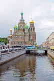 Church of the Savior on Blood next to Griboedov channel Royalty Free Stock Photos