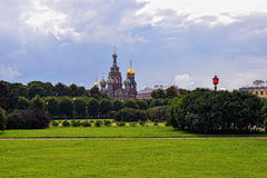 Church Savior on Blood and park in St-Petersburg, Russia. Royalty Free Stock Photos