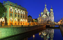 Church of the Savior on Blood in St. Petersburg. Night panorama of Church of the Savior on Blood in St. Petersburg Royalty Free Stock Photography