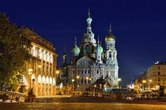 Church Savior on Blood in St-Petersburg, Russia.  Night view. Royalty Free Stock Images