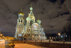 Church Savior on Blood in St-Petersburg, Russia.  Night view. Stock Image