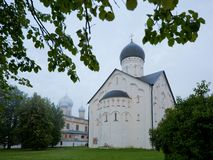 Church of the Savior`s Transfiguration on Lenin Street in Veliky. Novgorod in the early morning Royalty Free Stock Photography
