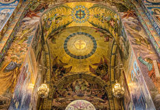 Church of the Savior on Spilled Blood. Beautiful mosaic platfond with a biblical story. Royalty Free Stock Photography