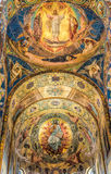 Church of the Savior on Spilled Blood. Beautiful mosaic platfond with a biblical story. Royalty Free Stock Photo