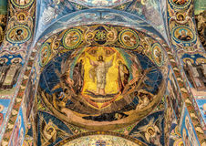 Church of the Savior on Spilled Blood. Beautiful mosaic platfond with a biblical story. Stock Photo
