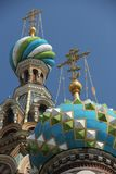 Church of the Savior on the spilled blood. A close up view of a few of the onion domes of the Church of the Savior on the spilled blood in St. Petersburg, Russia Stock Photo