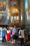 Church of the Savior on Spilled Blood. crowd of tourists in fro Stock Image