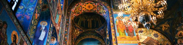 Church of the Savior on Spilled Blood interior in St Petersburg, Russia. ST. PETERSBURG, RUSSIA - APRIL 12, 2016: Church of the Savior on Spilled Blood interior Stock Photo