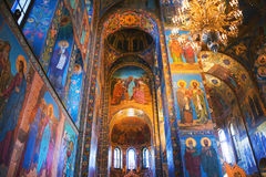 Church of the Savior on Spilled Blood interior in St Petersburg, Russia. ST. PETERSBURG, RUSSIA - APRIL 12, 2016: Church of the Savior on Spilled Blood interior Stock Photos