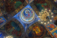Church of the Savior on Spilled Blood interior. ST. PETERSBURG, RUSSIA - JANUARY 8, 2015: Church of the Savior on Spilled Blood interior decoration. It contains Stock Photography