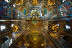 Church of the Savior on Spilled Blood. Magic light in the templ Royalty Free Stock Photos