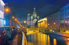 The Church of the Savior on Spilled Blood is a model of the architecture of the. Church of the Savior on Blood is a sample of architecture of Russian style Stock Photo