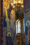 Church of the Savior on Spilled Blood. Mosaic on the columns of Stock Photography