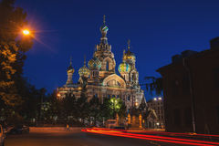 Church of the Savior on Spilled Blood at night. Famous landmark in Saint Petersburg, Russia. Illuminated building with dark clear blue sky at the background Stock Photo