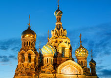 Church of the Savior on Spilled Blood at night in St. Petersburg Stock Images